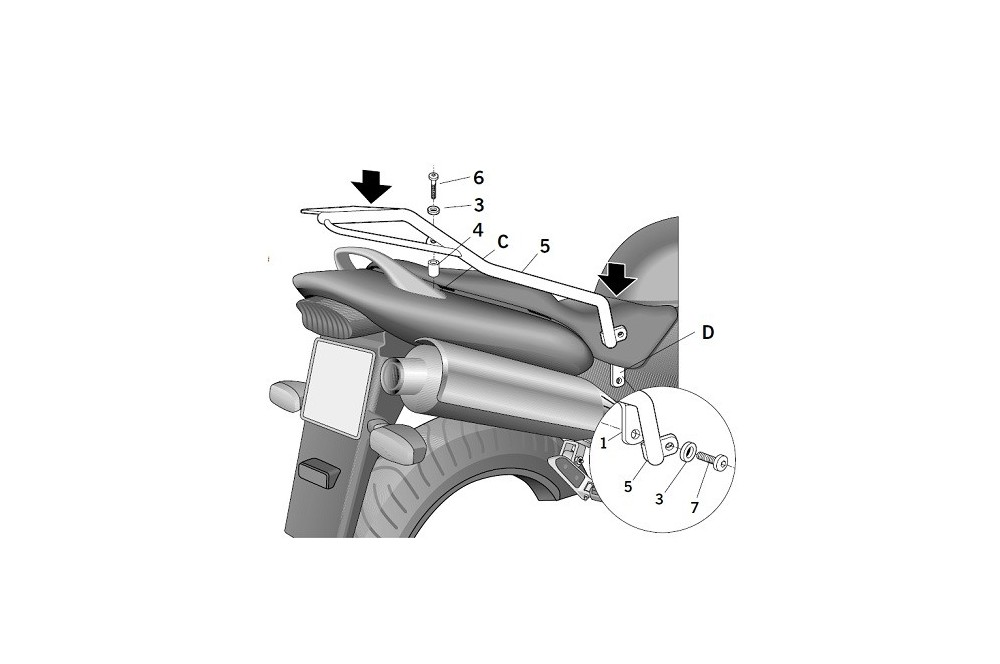 SUPPORT TOP CASE SHAD 600 HORNET 01-02