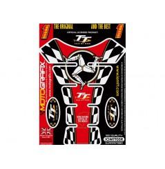 Protection de réservoir moto ISLE OF MAN TT Rouge / Blanc