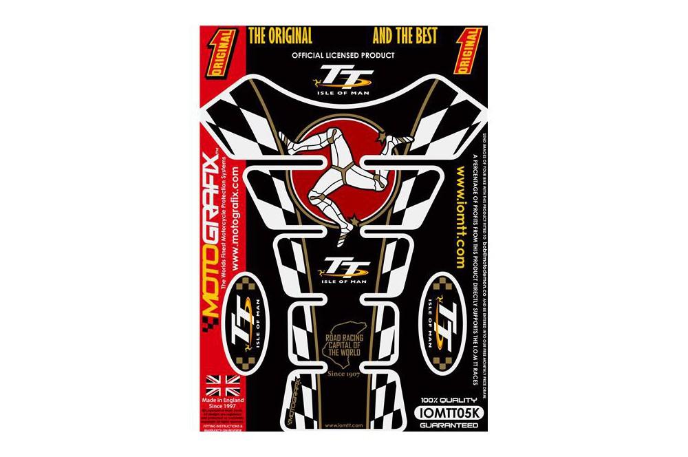 Protection de réservoir moto ISLE OF MAN TT Noir / Blanc