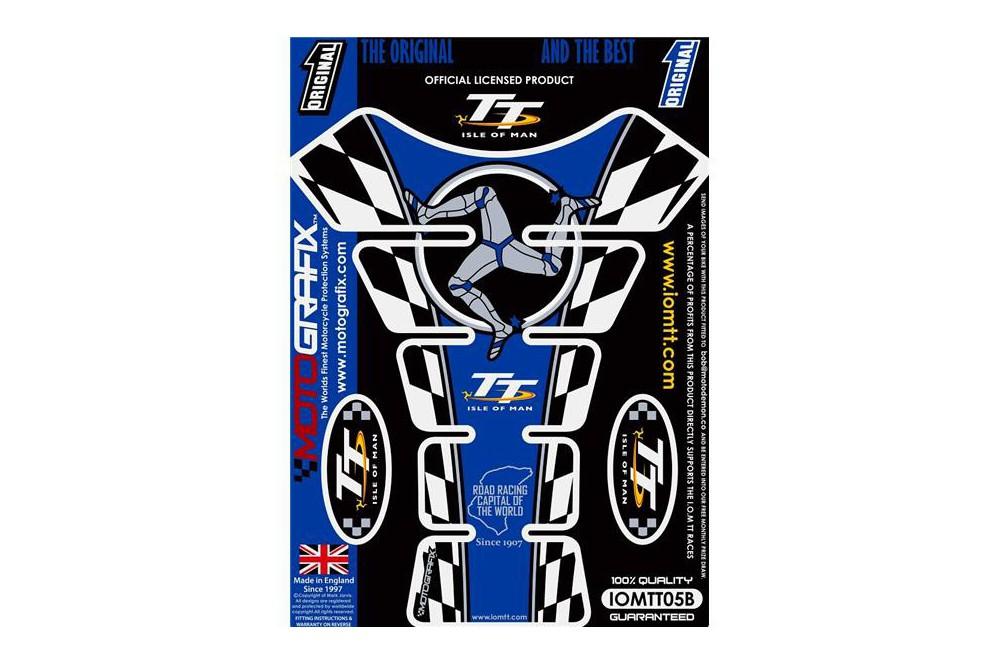Protection de réservoir moto ISLE OF MAN TT Bleu / Blanc