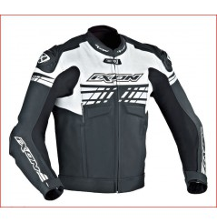 Blouson Cuir Moto Ixon EXOCET Noir - Blanc