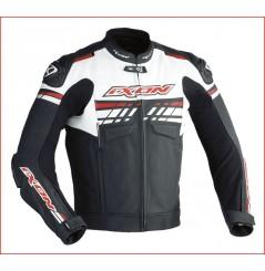 Blouson Cuir Moto Ixon EXOCET Noir - Blanc - Rouge