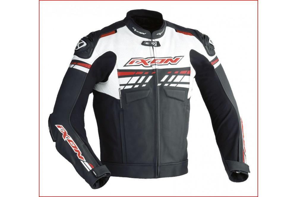 Blouson Cuir Racing Ixon Exocet Noir - Blanc - Rouge