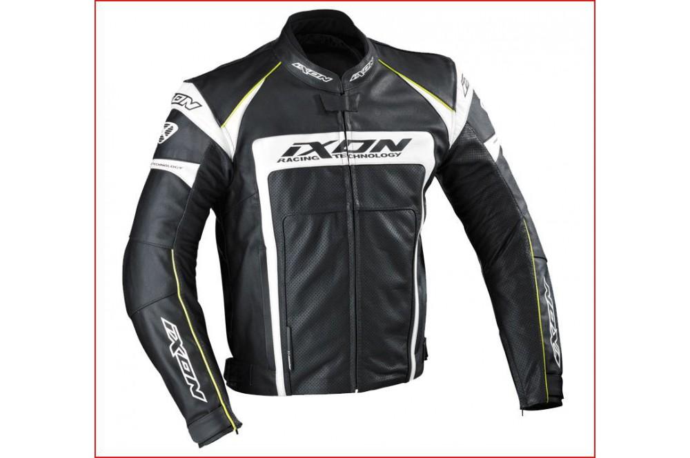 Blouson Cuir Racing Ixon Fueller Dry Noir - Blanc - Jaune