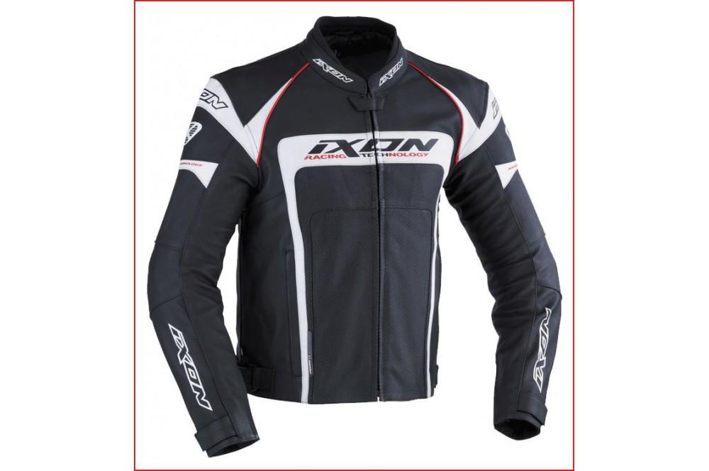 Blouson Cuir Racing Ixon Fueller Noir - Blanc