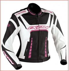 Blouson Femme Cuir Moto Ixon FULGURA Noir - Blanc - Rose