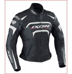 Blouson Femme Cuir Moto Ixon FEVER Noir - Blanc - Rose