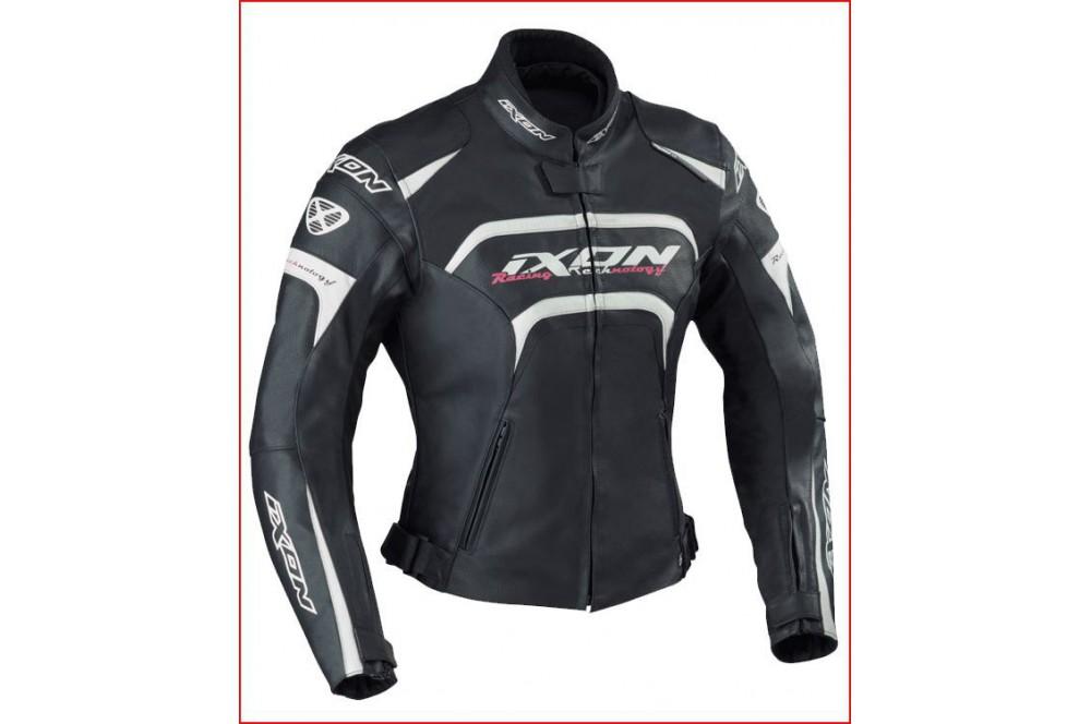 Blouson Femme Cuir Racing Ixon Fever Noir - Blanc - Rose