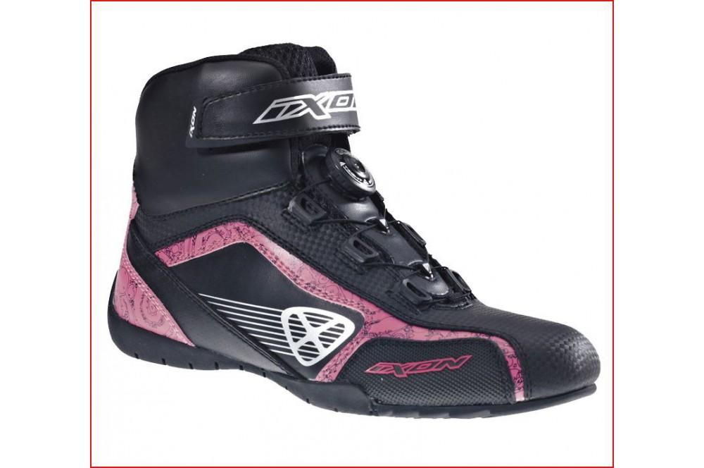 chaussure racing moto ixon assault lady noir rose street moto piece. Black Bedroom Furniture Sets. Home Design Ideas
