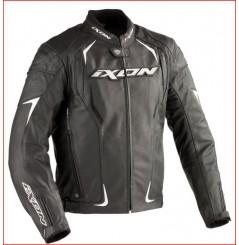 Blouson Cuir Moto Ixon RECKLESS Noir - Blanc