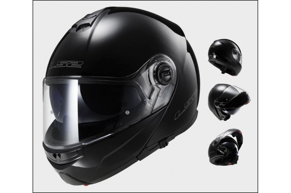 casque moto modulable ls2 ff325 strobe solid noir street moto piece. Black Bedroom Furniture Sets. Home Design Ideas