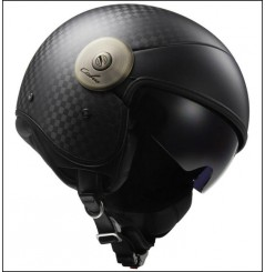 Casque Jet Moto LS2 OF597 CABRIO SOLID Carbone