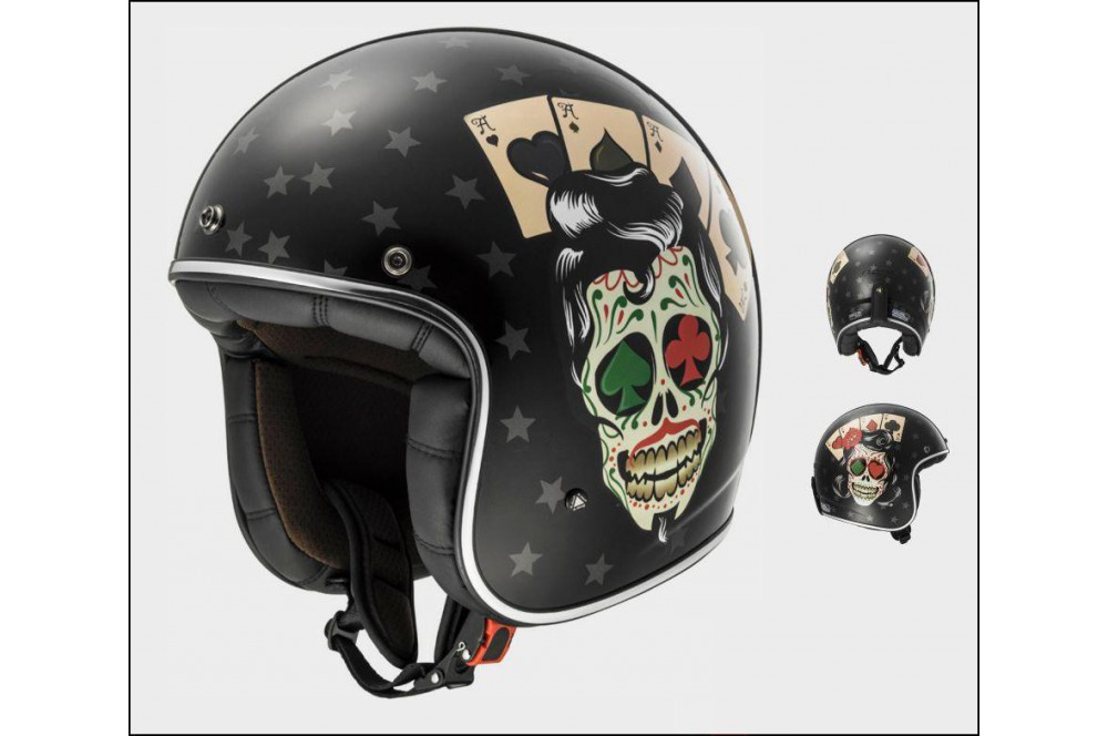 casque jet moto ls2 of583 bobber tattoo noir street moto piece. Black Bedroom Furniture Sets. Home Design Ideas