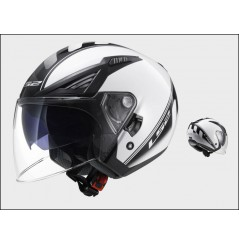 Casque Jet Moto LS2 OF586 BISHOP ATOM Noir - Blanc