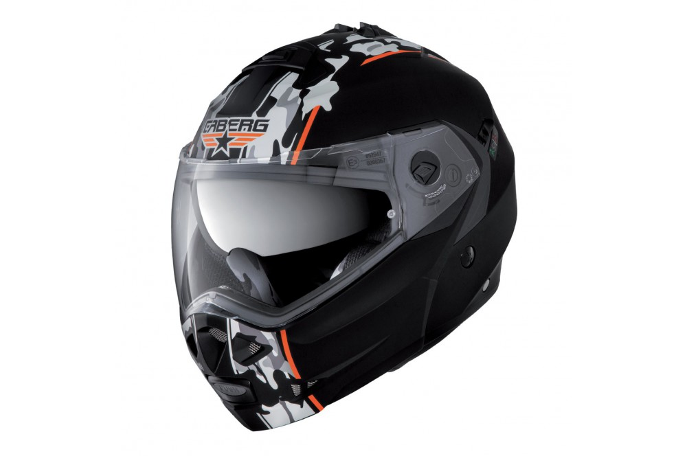 casque moto modulable caberg duke commander noir blanc orange street moto piece. Black Bedroom Furniture Sets. Home Design Ideas