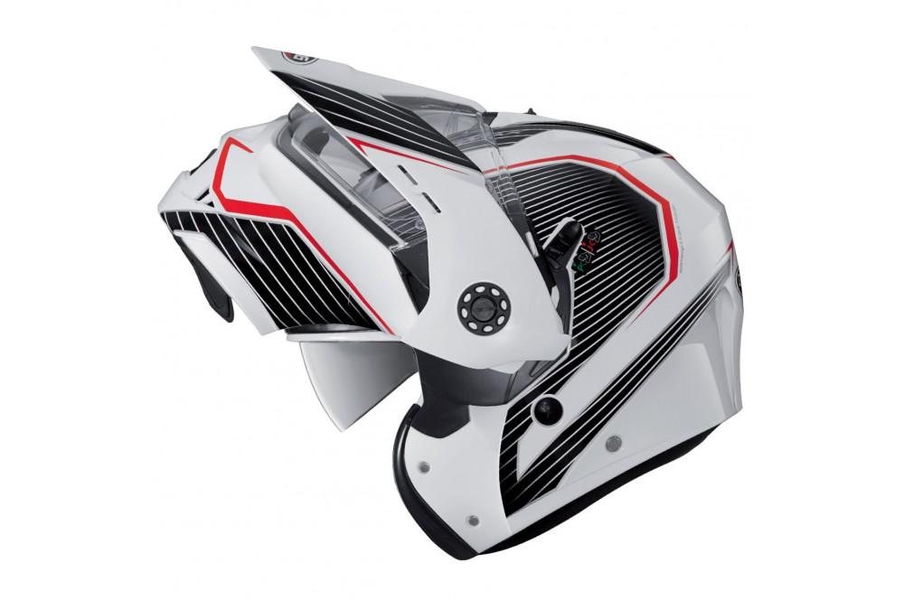 Casque Moto Modulable CABERG TOURMAX SONIC Blanc - Noir - Rouge