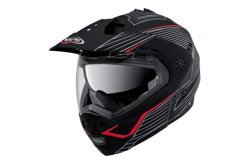 casque moto modulable caberg tourmax sonic noir blanc rouge street moto piece. Black Bedroom Furniture Sets. Home Design Ideas