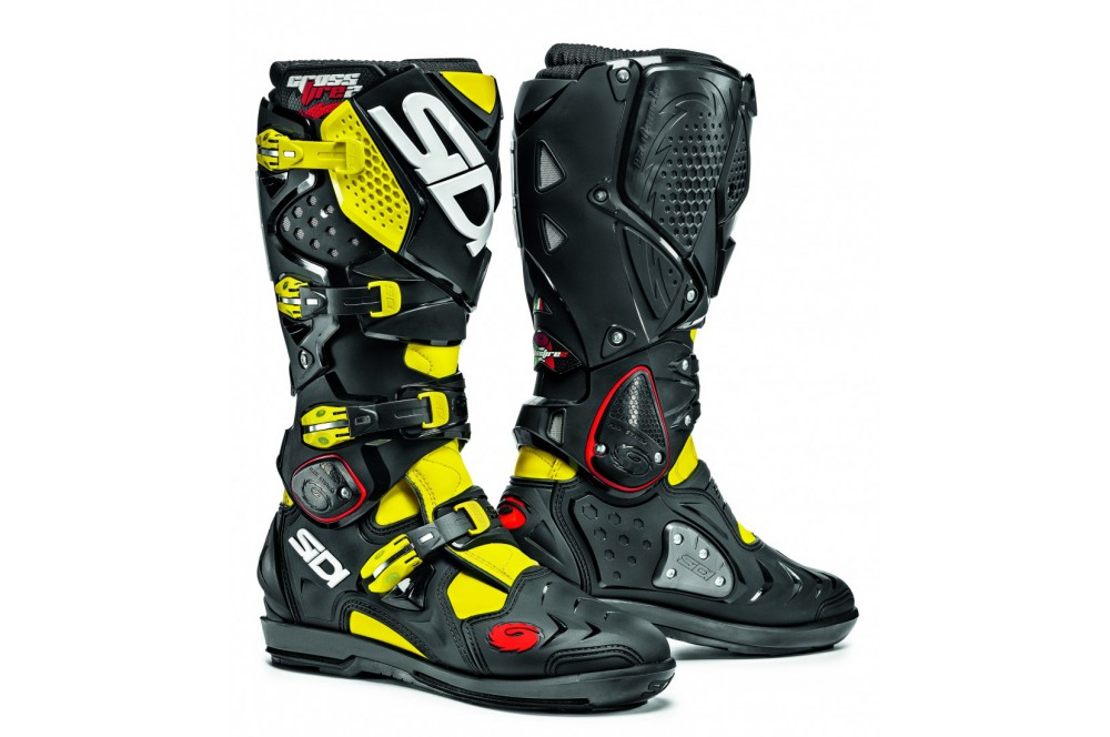 botte moto cross sidi crossfire 2 srs noir jaune street moto piece. Black Bedroom Furniture Sets. Home Design Ideas