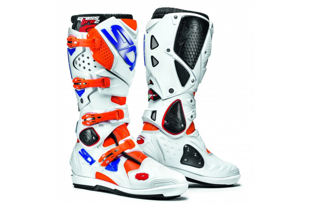 Botte Moto Cross SIDI CROSSFIRE 2 SRS Blanc - Orange - Bleu