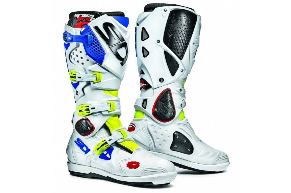 botte moto cross sidi crossfire 2 srs blanc bleu jaune street moto piece. Black Bedroom Furniture Sets. Home Design Ideas