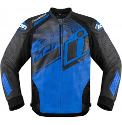 Blouson Cuir Moto Homme ICON Hypersport PrimeHero Bleu