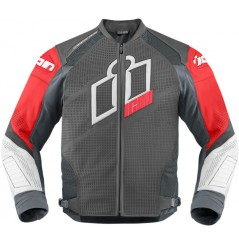Blouson Cuir Moto Homme ICON Hypersport Prime Rouge