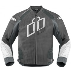 Blouson Cuir Moto Homme ICON Hypersport Prime Grise