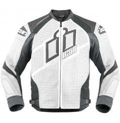 Blouson Cuir Moto Homme ICON Hypersport Prime Blanche