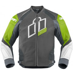 Blouson Cuir Moto Homme ICON Hypersport Prime Verte