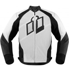 Blouson Cuir Moto Homme ICON Hypersport Blanche