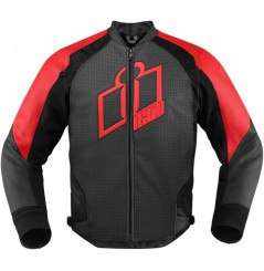 Blouson Cuir Moto Homme ICON Hypersport Rouge