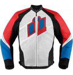 Blouson Cuir Moto Homme ICON Hypersport Bleu / Blanc / Rouge