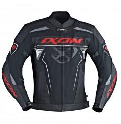 Blouson Cuir Moto Ixon FRANTIC Noir - Blanc - Rouge