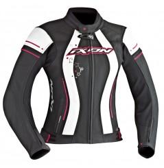 Blouson Cuir Moto Femme Ixon ALCYONE Noir - Blanc - Rose