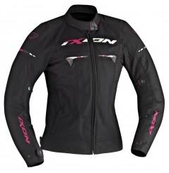 Blouson Moto Femme Ixon PITRACE LADY Noir - Blanc - Rose