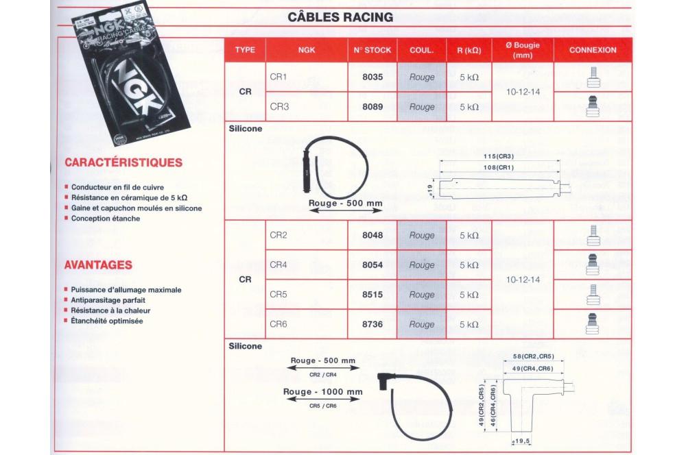Antiparasite + Câble Racing NGK CR3 Moto, Scooter, Quad
