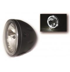 Phare Moto Rond 146mm classique Noir avec Contour Led