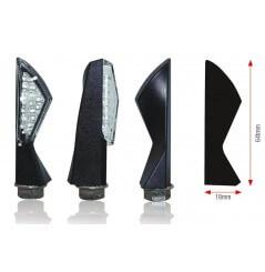 Clignotant Moto LED Homologué ASYM Noir