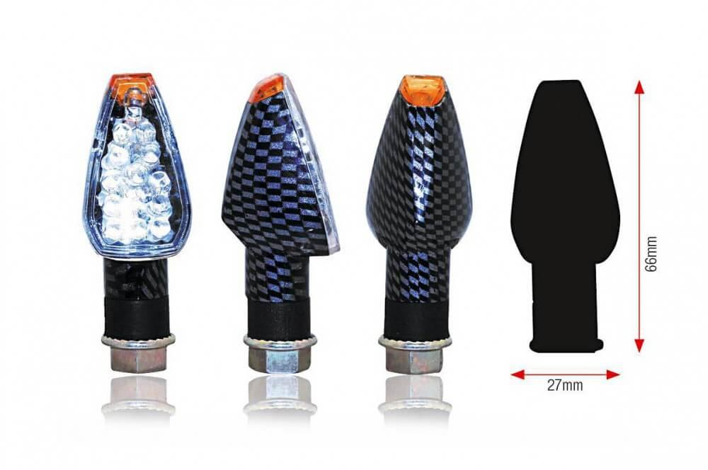 Clignotant LED Moto DESIGN Carbone