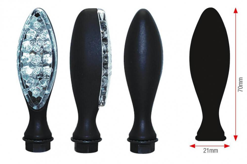 Clignotant LED Moto Homologué ELIPSE Noir