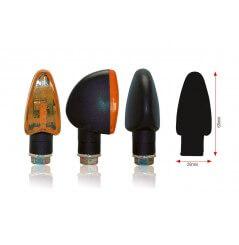 Clignotant Moto TRIANGLE Noir / Orange