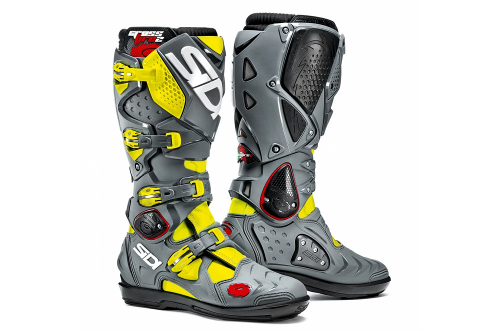 botte moto cross sidi crossfire 2 srs noir gris jaune street moto piece. Black Bedroom Furniture Sets. Home Design Ideas