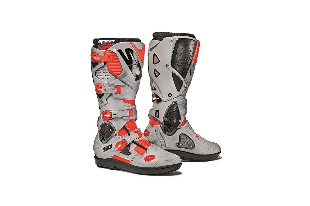botte moto cross sidi crossfire 3 srs gris rouge street moto piece. Black Bedroom Furniture Sets. Home Design Ideas