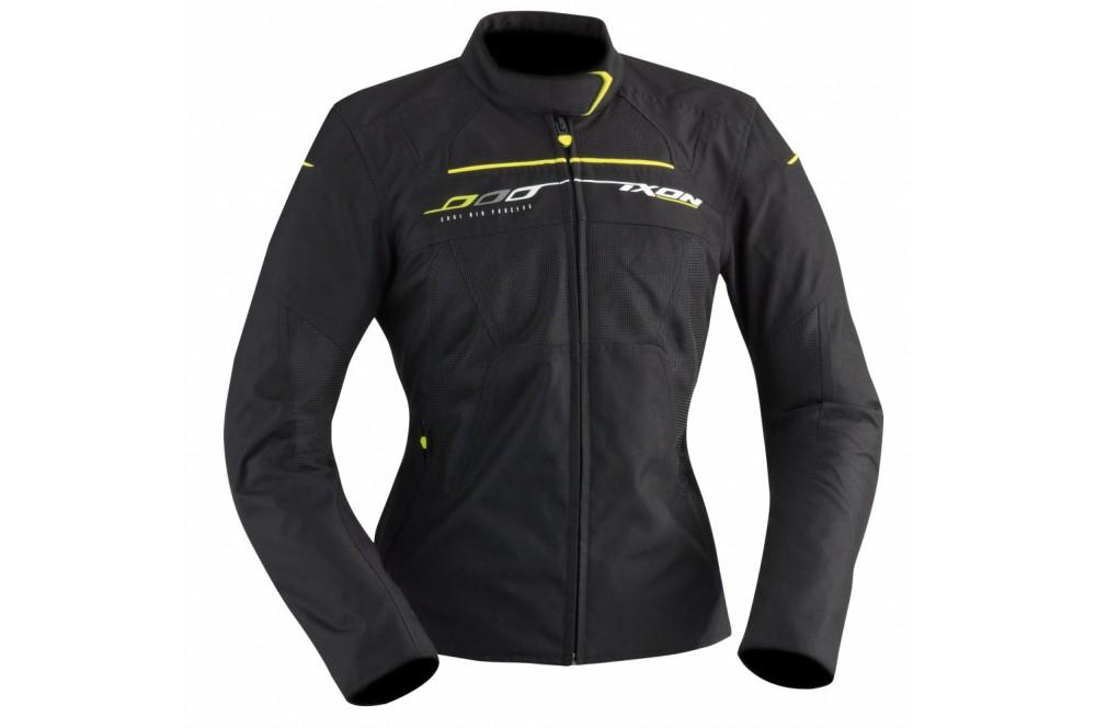 blouson moto femme ixon helia noir jaune street moto piece. Black Bedroom Furniture Sets. Home Design Ideas