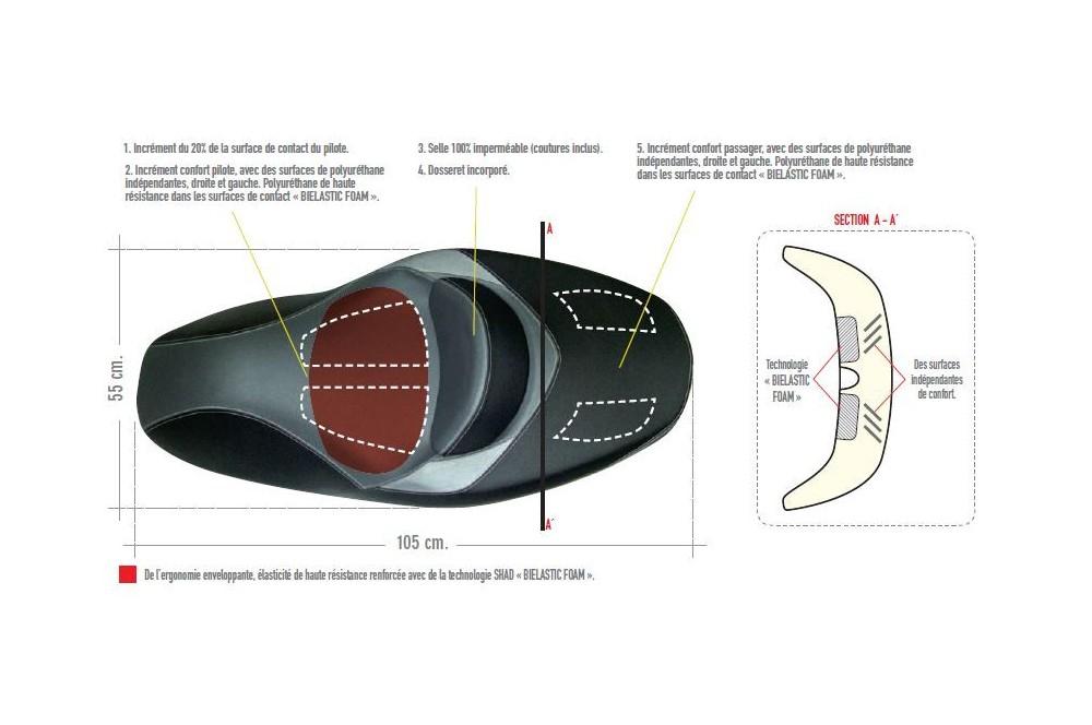 Selle Confort Shad Yamaha X-MAX 125/250 de 2010 a 2013