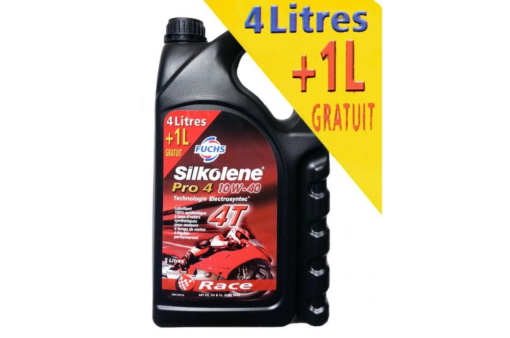 Huile Moto SILKOLENE PRO 4 Race 10w40, 1 Litre offert.