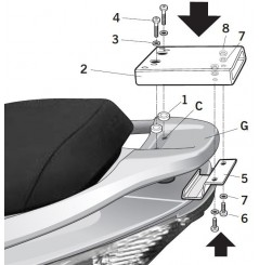 Support Top Case Shad Xciting 250 (05-11) et 500 (05-14)