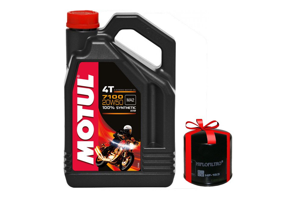 Huile moto Motul 7100 4T 20W50 4 Litres + Filtre a Huile Offert