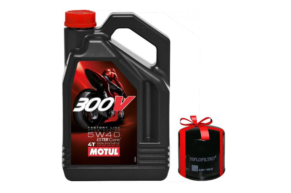 Huile moto Motul 300V 5W40 4 Litres Factory Line Road Racing + Filtre a Huile Offert