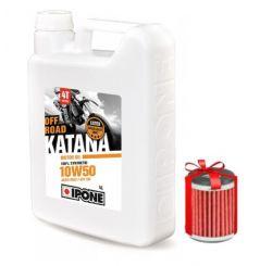 Huile Ipone Katana Off-Road 4T 10W50 4 Litres + Filtre à Huile Offert